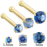 14K Gold Nose bone with Round Blue Zircon