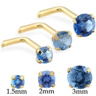 14K Gold L-shaped nose pin with Round Blue Zircon