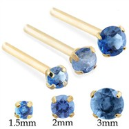 14K Gold Long customizable Nose Stud with Round Blue Zircon