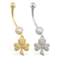 14K Gold jeweled belly ring with dangling shamrock charm