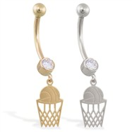 14K Gold jeweled belly ring with dangling basketball and net charm