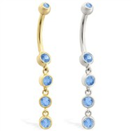 14K Gold belly ring with quadruple Blue Zircon dangle