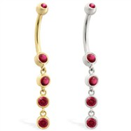 14K Gold belly ring with quadruple Ruby dangle