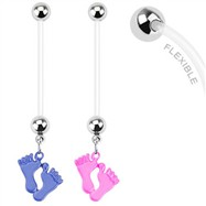 Long flexible bioplast pregnancy belly ring with dangling baby feet
