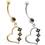 14K Gold belly ring with Black CZ jeweled dangling heart