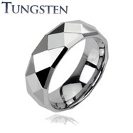Faceted tungsten carbine ring with drop down edges