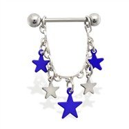 Pair of dangle nipple rings with blue stars