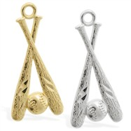 14K Gold baseball bats and ball charm