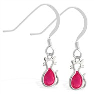 Sterling Silver Earrings with Small Dangling Ruby Jeweled Cat Charm