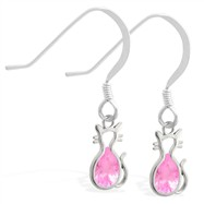 Sterling Silver Earrings with small dangling Pink Tourmaline jeweled cat charm