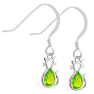 Sterling Silver Earrings with small dangling Peridot jeweled cat charm