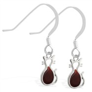 Sterling Silver Earrings with small dangling Garnet jeweled cat charm