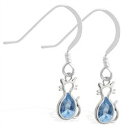 Sterling Silver Earrings with small dangling Blue Zircon jeweled cat charm