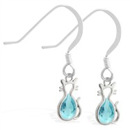 Sterling Silver Earrings with small dangling Aquamarinejeweled cat charm