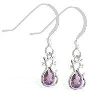 Sterling Silver Earrings with small dangling Alexandrite jeweled cat charm