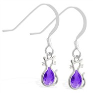 Sterling Silver Earrings with small dangling Amethyst jeweled cat charm