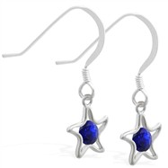 Sterling Silver Earrings with dangling Sapphire jeweled star