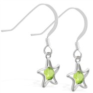 Sterling Silver Earrings with dangling Peridot jeweled star