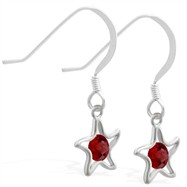 Sterling Silver Earrings with dangling Garnet jeweled star