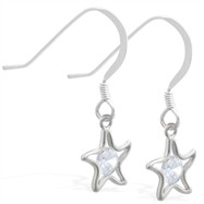 Sterling Silver Earrings with dangling CZ jeweled star