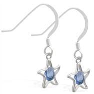 Sterling Silver Earrings with dangling Blue Zircon jeweled star