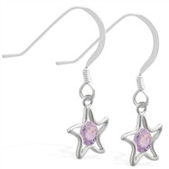 Sterling Silver Earrings with dangling Alexandrite jeweled star