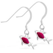 Sterling Silver Earrings with small dangling Ruby jeweled shark