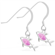 Sterling Silver Earrings with small dangling Pink Tourmaline jeweled shark