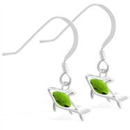 Sterling Silver Earrings with small dangling Peridot jeweled shark