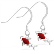 Sterling Silver Earrings with small dangling Garnet jeweled shark
