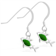 Sterling Silver Earrings with small dangling Emerald jeweled shark