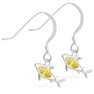 Sterling Silver Earrings with small dangling Citrine jeweled shark