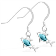 Sterling Silver Earrings with small dangling Aquamarinejeweled shark