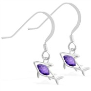 Sterling Silver Earrings with small dangling Amethyst jeweled shark