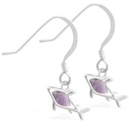 Sterling Silver Earrings with small dangling Alexandrite jeweled shark
