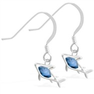 Sterling Silver Earrings with small dangling Blue Zircon jeweled shark