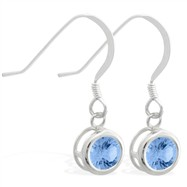 Sterling Silver Earrings with 5mm Bezel Set round 5mm Blue Zircon