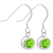 Sterling Silver Earrings with 5mm Bezel Set round 5mm Peridot