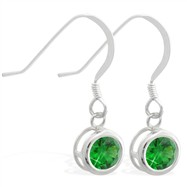 Sterling Silver Earrings with 5mm Bezel Set round 5mm Emerald