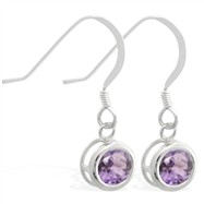 Sterling Silver Earrings with 5mm Bezel Set round 5mm Alexandrite
