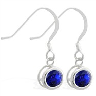 Sterling Silver Earrings with 5mm Bezel Set round 5mm Sapphire