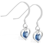Sterling Silver Earrings with small dangling Blue Zircon jeweled heart