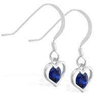 Sterling Silver Earrings with small dangling Sapphire jeweled heart