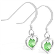 Sterling Silver Earrings with small dangling Peridot jeweled heart