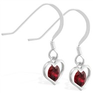Sterling Silver Earrings with small dangling Garnet jeweled heart