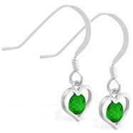 Sterling Silver Earrings with small dangling Emerald jeweled heart