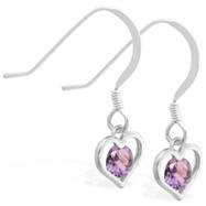 Sterling Silver Earrings with small dangling Alexandrite jeweled heart