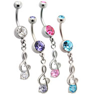Treble Clef Music Note Dangle Belly Ring
