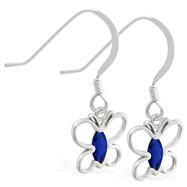 Sterling Silver Earrings with dangling Sapphire jeweled butterfly
