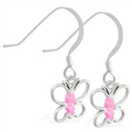 Sterling Silver Earrings with dangling Pink Tourmaline jeweled butterfly